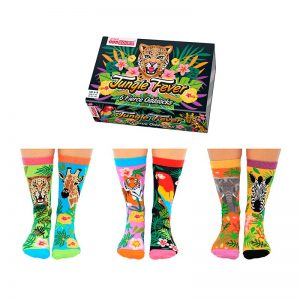 Calcetines desparejados Jungle Fever Pack de 6 unidades - Pequeños Placeres (Oddsocks)